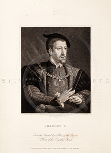 Vintage 1800s Sepia Steel Engraving Illustration of Charles V. portrait from THE GALLERY OF PORTRAITS by Charles Knight, published in London.  The natural patina, age-toning, imperfections, and old paper antiquing of this vintage 19th century illustration are preserved in this image.