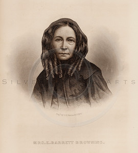 Vintage illustration of Elizabeth Barrett Browning Portrait from Eminent Women of the Age by Horace Greeley, 1869.  The natural age-toning, paper stains, and antique printing imperfections are preserved in this 1800s vintage stock image.