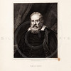 Vintage 1800s Sepia Steel Engraving Illustration of Galileo portrait from THE GALLERY OF PORTRAITS by Charles Knight, published in London.  The natural patina, age-toning, imperfections, and old paper antiquing of this vintage 19th century illustration are preserved in this image.