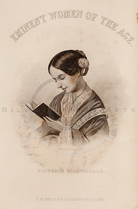 Vintage illustration of Florence Nightingale Portrait from Eminent Women of the Age by Horace Greeley, 1869.  The natural age-toning, paper stains, and antique printing imperfections are preserved in this 1800s vintage stock image.