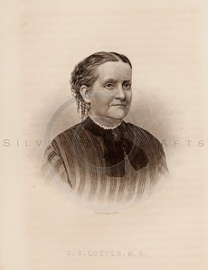 Vintage illustration of C.S. Lozier, MD Portrait from Eminent Women of the Age by Horace Greeley, 1869.  The natural age-toning, paper stains, and antique printing imperfections are preserved in this 1800s vintage stock image.