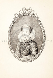 Vintage 1800s Photo-Etching Sepia Illustration of Gabrielle D'Estrees portrait from MEMOIRS OF THE COURT OF ENGLAND by Jesse Heneage.  The natural patina, age-toning, imperfections, and old paper antiquing of this vintage 19th century illustration are preserved in this image.