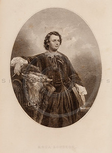 Vintage illustration of Rosa Bonheur Portrait from Eminent Women of the Age by Horace Greeley, 1869.  The natural age-toning, paper stains, and antique printing imperfections are preserved in this 1800s vintage stock image.