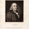 Vintage 1800s Sepia Steel Engraving Illustration of Benjamin Franklin portrait from THE GALLERY OF PORTRAITS by Charles Knight, published in London.  The natural patina, age-toning, imperfections, and old paper antiquing of this vintage 19th century illustration are preserved in this image.