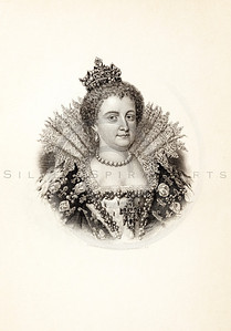 Vintage 1800s Photo-Etching Sepia Illustration of Marie de Medicis portrait from MEMOIRS OF THE COURT OF ENGLAND by Jesse Heneage.  The natural patina, age-toning, imperfections, and old paper antiquing of this vintage 19th century illustration are preserved in this image.