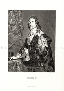 Vintage 1800s Sepia Steel Engraving Illustration of Charles I from THE NATIONAL AND DOMESTIC HISTORY OF ENGLAND by W.H.S. Aubrey.  The natural patina, age-toning, imperfections, and old paper antiquing of this vintage 19th century illustration are preserved in this image.