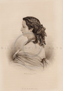Vintage illustration of Eugenie Portrait from Eminent Women of the Age by Horace Greeley, 1869.  The natural age-toning, paper stains, and antique printing imperfections are preserved in this 1800s vintage stock image.