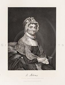 Vintage Illustration of Abigail Adams Portrait from 1860.  Antique digital download of old print - Adams, Abigail, Abigail Adams, woman, dress, bonnet, hat, portrait, historical, history, people, person, famous, signature, handwriting, autograph.  The natural age-toning, paper stains, and antique printing imperfections are preserved in this 1800s stock image.