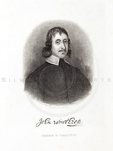 Vintage 1800s Engraving Illustration of the Governor of Connecti
