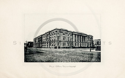 Vintage 1900s Sepia Photogravure Illustration of the Post Office Department Building from MESSAGES & PAPERS OF THE PRESIDENTS by James Richardson.  The natural patina, age-toning, imperfections, and old paper antiquing of this vintage 20th century illustration are preserved in this image.