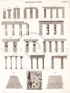 Vintage 1800s Sepia Illustration of Architecture Plans - THE ENCYCLOPEDIA BRITANNICA by A&C Black, published in Edinburgh, Scotland.