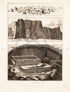 Vintage 1700s Sepia Illustration of Ancient Buildings - FRAGMENTS OF THE HOLY SCRIPTURES by Calmet.