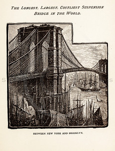 Vintage illustration of the Brooklyn Bridge from 1887. The natural age-toning, paper stains, and antique printing imperfections are preserved in this 1800s vintage stock image.