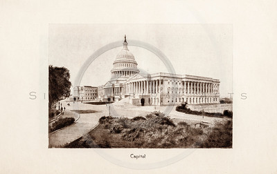 Vintage 1900s Sepia Photogravure Illustration of the Capitol Building from MESSAGES & PAPERS OF THE PRESIDENTS by James Richardson.  The natural patina, age-toning, imperfections, and old paper antiquing of this vintage 20th century illustration are preserved in this image.