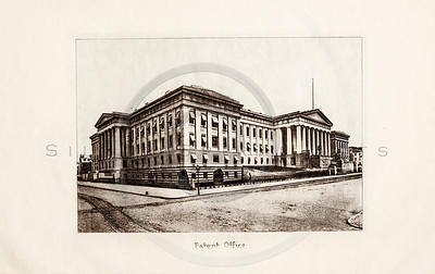 Vintage 1900s Sepia Photogravure Illustration of the Patent Office Building from MESSAGES & PAPERS OF THE PRESIDENTS by James Richardson.  The natural patina, age-toning, imperfections, and old paper antiquing of this vintage 20th century illustration are preserved in this image.