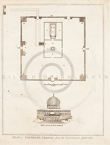 Vintage 1700s Sepia Illustration of Architecture Plans - FRAGMENTS OF THE HOLY SCRIPTURES by Calmet.