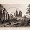 Vintage 1800s Sepia Engraving Architecture Illustration of a Cathedral from FRANCE, DICTIONNAIRE ENCYCLOPEDIQUE by M. Le Bas, published in Paris.  The natural patina, age-toning, imperfections, and old paper antiquing of this vintage 19th century illustration are preserved in this image.