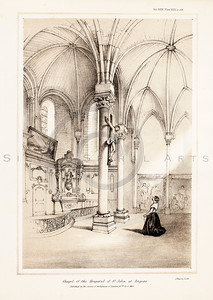 Vintage 1800s Sepia Illustration of a Chapel Interior - MISCELLANEOUS TRACTS RELATING TO ANTIQUITY by Society of Antiquaries in London.