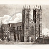 Vintage 1800s Photo-Etching Illustration of Westminster Abbey from MEMOIRS OF THE COURT OF ENGLAND by Jesse Heneage.  The natural patina, age-toning, imperfections, and old paper antiquing of this vintage 19th century illustration are preserved in this image.