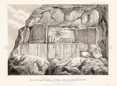 Vintage 1800s Sepia Illustration of Rock Sculptures - MISCELLANEOUS TRACTS RELATING TO ANTIQUITY by Society of Antiquaries in London.