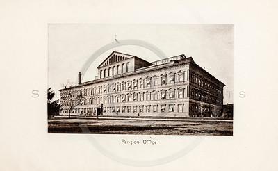 Vintage 1900s Sepia Photogravure Illustration of a Pension Office from MESSAGES & PAPERS OF THE PRESIDENTS by James Richardson.  The natural patina, age-toning, imperfections, and old paper antiquing of this vintage 20th century illustration are preserved in this image.