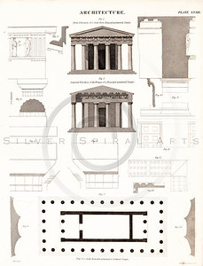 Vintage 1800s Sepia Illustration of Architecture Plans - THE ENCYCLOPEDIA BRITANNICA by A&C Black, published in Edinburgh, Scotland.
