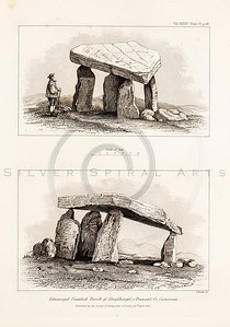 Vintage 1800s Sepia Illustration of Ancient Stone Henges - MISCELLANEOUS TRACTS RELATING TO ANTIQUITY by Society of Antiquaries in London.