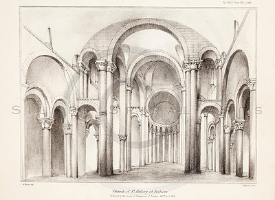 Vintage 1800s Sepia Illustration of a Church Interior - MISCELLANEOUS TRACTS RELATING TO ANTIQUITY by Society of Antiquaries in London.