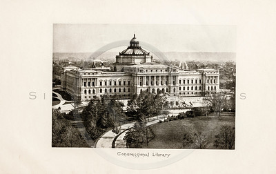 Vintage 1900s Sepia Photogravure Illustration of the Congressional Library from MESSAGES & PAPERS OF THE PRESIDENTS by James Richardson.  The natural patina, age-toning, imperfections, and old paper antiquing of this vintage 20th century illustration are preserved in this image.