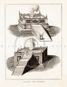 Vintage 1700s Sepia Illustration of Altars - FRAGMENTS OF THE HOLY SCRIPTURES by Calmet.