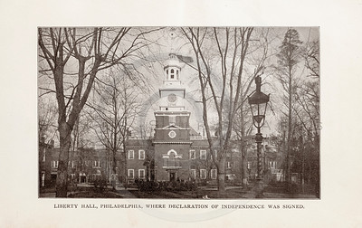 Vintage 1900s Sepia Photogravure Illustration of Liberty Hall, where the Declaration of Independence was signed, from MESSAGES & PAPERS OF THE PRESIDENTS by James Richardson.  The natural patina, age-toning, imperfections, and old paper antiquing of this vintage 20th century illustration are preserved in this image.