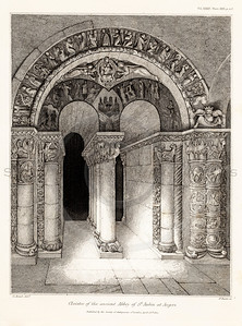 Vintage 1800s Sepia Illustration of a Cloister in an Abbey - MISCELLANEOUS TRACTS RELATING TO ANTIQUITY by Society of Antiquaries in London.