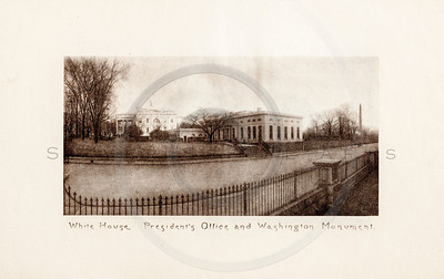 Vintage 1900s Sepia Photogravure Illustration of the White House from MESSAGES & PAPERS OF THE PRESIDENTS by James Richardson.  The natural patina, age-toning, imperfections, and old paper antiquing of this vintage 20th century illustration are preserved in this image.