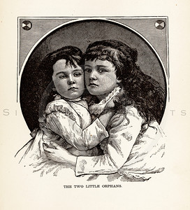 Vintage illustration of Two Girls from 1887.  The natural age-toning, paper stains, and antique printing imperfections are preserved in this 1800s vintage stock image.
