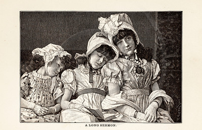 Vintage illustration of Bored Children from 1887. The natural age-toning, paper stains, and antique printing imperfections are preserved in this 1800s vintage stock image.