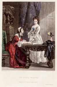 Vintage 1800s Color Illustration of Victorian Women - GODEY'S, PETERSON'S ETC.