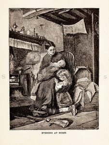 Vintage illustration of a mother with her children from 1887.  The natural age-toning, paper stains, and antique printing imperfections are preserved in this 1800s vintage stock image.