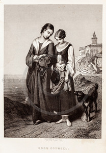 Vintage 1800s Black & White Illustration of Victorian Women - GODEY'S, PETERSON'S ETC.