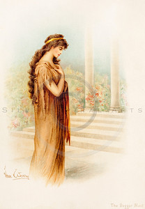 Vintage illustration of a Woman from TENNYSON'S HEROES & HEROINES by Raphael Tuck, 1880.  The natural age-toning, paper stains, and antique printing imperfections are preserved in this 1800s vintage stock image.