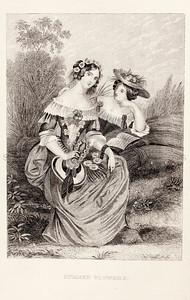 Vintage 1800s Sepia Illustration of Victorian Women - GODEY'S, PETERSON'S ETC.