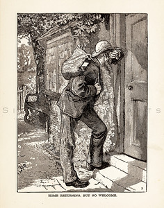 Vintage illustration of a man at a door from 1887.  The natural age-toning, paper stains, and antique printing imperfections are preserved in this 1800s vintage stock image.