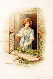 Vintage illustration of a Woman at a window from TENNYSON'S HEROES & HEROINES by Raphael Tuck, 1880.  The natural age-toning, paper stains, and antique printing imperfections are preserved in this 1800s vintage stock image.