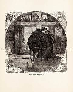 Vintage illustration of an old couple from 1887. The natural a