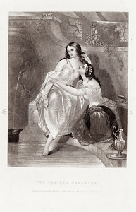 Vintage 1800s Black & White Illustration of Victorian Women - GO