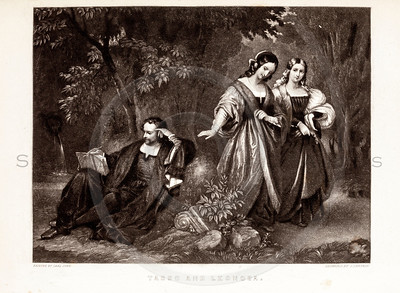 Vintage 1800s Black & White Illustration of Victorian Lovers - GODEY'S & PETERSON'S ETC. MAGAZINE