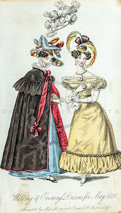 Vintage Illustration of Women's Dress Fashions from Lady's Monthly Museum, 1800s.  Antique digital download of old print - dress, fashion, victorian, costume, style, design, women, woman, lady, ladies, hat, bustle, gown, skirt, beauty, color.  The natural age-toning, paper stains, and antique printing imperfections are preserved in this 1800s stock image.