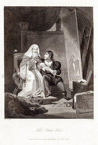 Vintage 1800s Black & White Illustration of Victorian Lovers - GODEY'S & PETERSON'S ETC. MAGAZINE