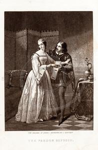 Vintage 1800s Black & White Illustration of Victorian Lovers - G