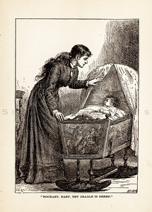 Vintage illustration of Mother with Baby in Cradle from 1887.  The natural age-toning, paper stains, and antique printing imperfections are preserved in this 1800s vintage stock image.