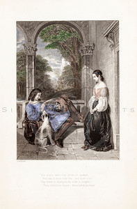 Vintage 1800s Color Illustration of Victorian Lovers - GODEY'S & PETERSON'S ETC. MAGAZINE